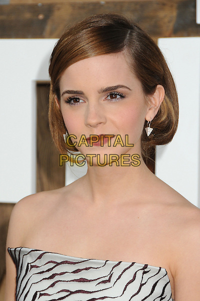 Emma Watson<br /> 'This is the End' Los Angeles film premiere  at the Regency Village Theatre, Westwood, California, USA.<br /> 3rd June 2013<br /> headshot portrait black white pattern strapless top red lipstick<br /> CAP/ADM/BP<br /> &copy;Byron Purvis/AdMedia/Capital Pictures