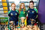 Kerry Camogie players Patrice Diggins, Laura Collin and Niamh Leen displaying the All Ireland Club Cup, the Premier Junior C/ship cup and the Munster C/ship cup at the Kerry Sports Academy Open Day at the I T Tralee on Saturday.