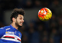 Calcio, Serie A: Roma vs Sampdoria. Roma, stadio Olimpico, 7 febbraio 2016.<br /> Sampdoria's Andrea Ranocchia heads the ball during the Italian Serie A football match between Roma and Sampdoria at Rome's Olympic stadium, 7 January 2016.<br /> UPDATE IMAGES PRESS/Riccardo De Luca