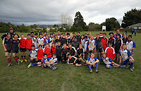 The teams pose for a group photo after the under-13 rugby match between Horowhenua-Kapiti and Central Hawkes Bay at Otaki Domain in Otaki, New Zealand on Sunday, 6 August 2017. Photo: Dave Lintott / lintottphoto.co.nz