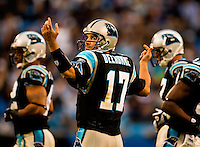 Carolina Panthers quarterback Jake Delhomme (#17) at Bank of America Stadium in Charlotte, NC. Photo from the Carolina Panthers' 20-9 loss to the Buffalo Bills in Charlotte on Sunday, Oct. 25, 2009. Professional American NFL football team The Carolina Panthers represents North Carolina and South Carolina from its hometown of Charlotte, NC. The Carolina Panthers are members of the NFL's National Football Conference South Division. The Charlotte professional football team began playing in Charlotte in 1995 as an expansion team.  The Carolina Panthers play in Bank of America Stadium, formerly known as Carolinas Stadium and Ericsson Stadium.
