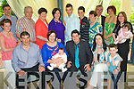 Celebrations - Mairead & William Houlihan, seated centre having a wonderful time with family and friends at the Christening celebrations for their son Jack held in The Ballyroe Heights Hotel on Saturday. Front l/r: John Somers, Mairead, Baby Jack & William Houlihan, Caroline Houlihan and Louis O'Connell. Back l/r: Aileen Somers, Liam Somers, Noel Somers, Eileen Somers, Eveleen O'Connell, Damien Somers, Tarick Barry, Teresa Houlihan, Michael Houlihan, Christina Somers, Louise Somers & Orla Somers(Baby)............................................................................................................................................................................................ ............