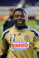 Freddy Adu (11) of the Philadelphia Union. The New York Red Bulls defeated the Philadelphia Union  1-0 during a Major League Soccer (MLS) match at Red Bull Arena in Harrison, NJ, on October 20, 2011.