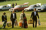 Glyndebourne Festival Opera East Sussex UK drinks on one of the lawns during the interval, between acts during the opera. 1985.