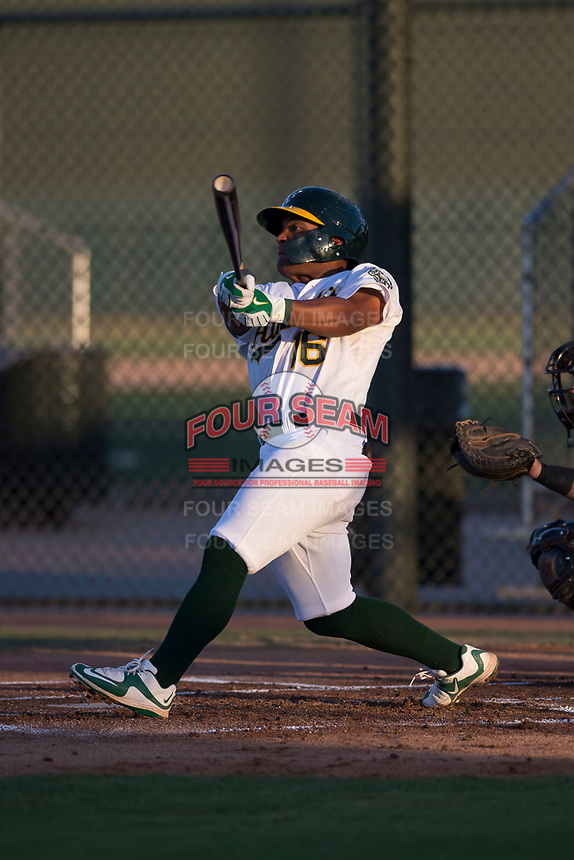 AZL Athletics third baseman Cobie Vance (16) at bat during an Arizona League game against the AZL Giants Orange at Lew Wolff Training Complex on June 25, 2018 in Mesa, Arizona. AZL Giants Orange defeated the AZL Athletics 7-5. (Zachary Lucy/Four Seam Images)
