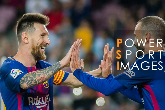 Lionel Andres Messi of FC Barcelona (L) celebrates after scoring his goal with Aleix Vidal of FC Barcelona (R) during the La Liga 2017-18 match between FC Barcelona and SD Eibar at Camp Nou on 19 September 2017 in Barcelona, Spain. Photo by Vicens Gimenez / Power Sport Images