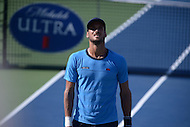 Washington, DC - August 5, 2015: Feliciano Lopez looks at the scoreboard atop the FitzGerald Tennis Center during a match against Lleyton Hewitt at the Citi Open tennis tournament in the District of Columbia, August 5, 2015.  (Photo by Don Baxter/Media Images International)