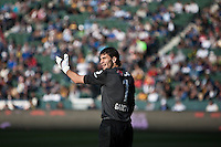Goalie Javier Garcia pleds with the referee to watch for the offsides call during the second half of a friendly between LA Galaxy and Boca Juniors. The game was held at the Home Depot Center in Carson, CA on May 23, 2010. The final score was LA Galaxy 1, Boca Juniors 0.