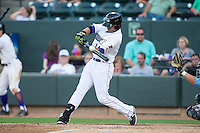 Keenyn Walker (24) of the Winston-Salem Dash makes contact with the baseball during the game against the Myrtle Beach Pelicans at BB&T Ballpark on May 9, 2015 in Winston-Salem, North Carolina.  The Pelicans defeated the Dash 3-2 in 10 innings in the first game of a double-header.  (Brian Westerholt/Four Seam Images)