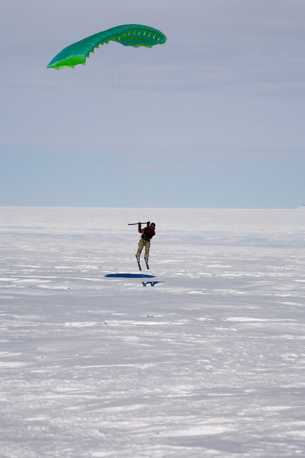 Ronni has a moment of excitement while Ski-sailing in a good wind at Patriot Hills. Antarctica