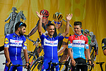 Philippe Gilbert (BEL) Quick-Step Floors on stage at the Team Presentations for the 105th Tour de France 2018 held on Napoleon Square in La Roche-sur-Yon, France. 5th July 2018. <br /> Picture: ASO/Bruno Bade | Cyclefile<br /> All photos usage must carry mandatory copyright credit (&copy; Cyclefile | ASO/Bruno Bade)
