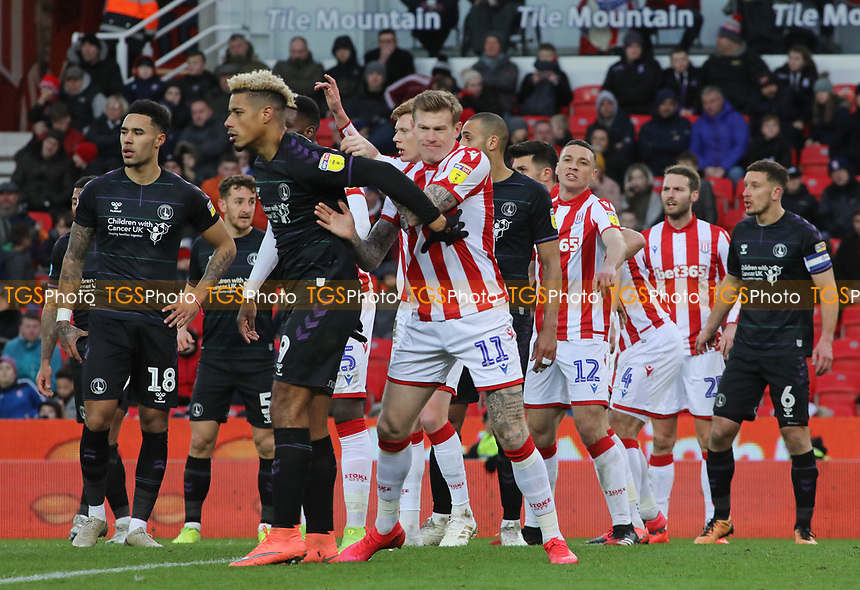 James McClean of Stoke City and Lyle Taylor of Charlton during Stoke City vs Charlton Athletic, Sky Bet EFL Championship Football at the bet365 Stadium on 8th February 2020