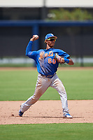 GCL Mets shortstop Sebastian Espino (60) throws to first base during a game against the GCL Nationals on August 4, 2018 at FITTEAM Ballpark of the Palm Beaches in West Palm Beach, Florida.  GCL Nationals defeated GCL Mets 7-4.  (Mike Janes/Four Seam Images)
