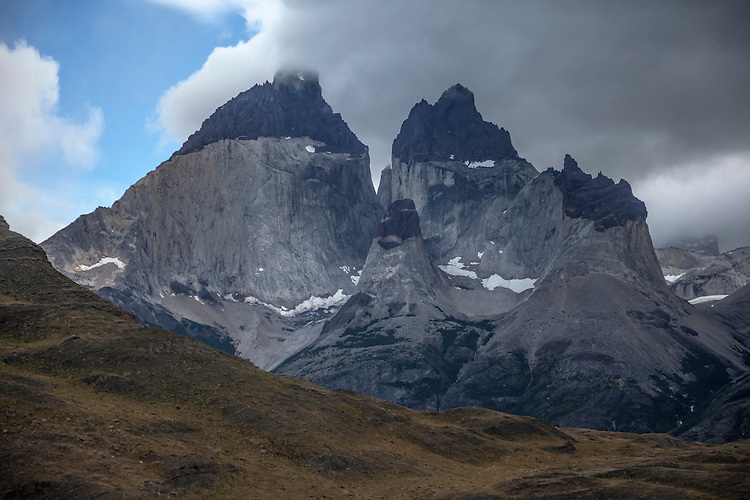 The dramatic Horns of Paine dominate the skyline in Torres del Paine NP, Chile
