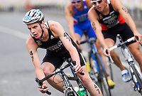25 JUL 2010 - LONDON, GBR - Jonathan Brownlee takes a corner during the mens race of the London round of the ITU World Championship Series triathlon (PHOTO (C) NIGEL FARROW)