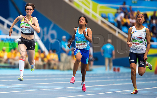 09.09.2016. Rio de Janeiro, Brazil.  Claudia Nicoleitzik (L) of Germany competes against Yanina Andrea Martinez of Argentina and Martha Liliana Hernandez Florian of Colombia in the Women's 100m - T36 final during the Rio 2016 Paralympic Games, Rio de Janeiro, Brazil, 09 September 2016. Martinez took gold, Nicoleitzik silver and Hernandez Florian bronze.