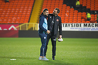 27th December 2019; Dens Park, Dundee, Scotland; Scottish Championship Football, Dundee Football Club versus Dundee United; Dundee United assistant head coach Lee Henry McCulloch shares a laugh with Kane Hemmings of Dundee pre-match - Editorial Use