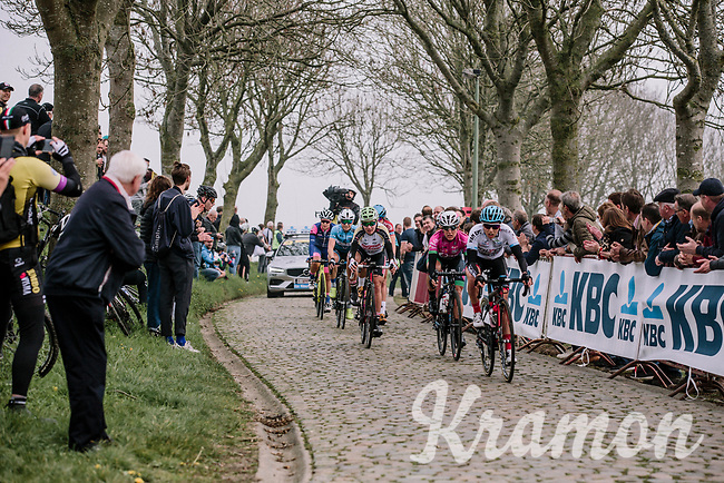 An early break away on the Paadestraat during the 16th Ronde Van Vlaanderen<br /> <br /> Elite Womans Race (1.WWT)<br /> <br /> One day race from Oudenaarde to Oudenaarde<br /> ©Jojo Harper for Kramon