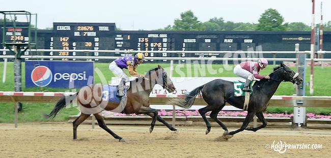 Dry Run winning at Delaware Park racetrack on 6/19/14