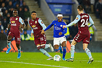 8th January 2020; King Power Stadium, Leicester, Midlands, England; English Football League Cup Football, Carabao Cup, Leicester City versus Aston Villa; Ricardo Pereira of Leicester Citytskes on Guilbert of Aston Villa - Strictly Editorial Use Only. No use with unauthorized audio, video, data, fixture lists, club/league logos or 'live' services. Online in-match use limited to 120 images, no video emulation. No use in betting, games or single club/league/player publications
