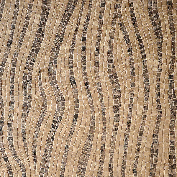 Dune, a hand-chopped stone mosaic, shown in tumbled 1.5cm Emperador Dark and Travertine Noce.