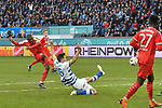 02.12.2018, Schauinsland-Reisen-Arena, Duisburg, GER, 2. FBL, MSV Duisburg vs. Holstein Kiel, DFL regulations prohibit any use of photographs as image sequences and/or quasi-video<br /> <br /> im Bild David Kinsombi (#6, Holstein Kiel) schiesst auf das Tor Lukas Fr&ouml;de / Froede (#16, MSV Duisburg)  (re.)<br /> <br /> Foto &copy; nordphoto/Mauelshagen
