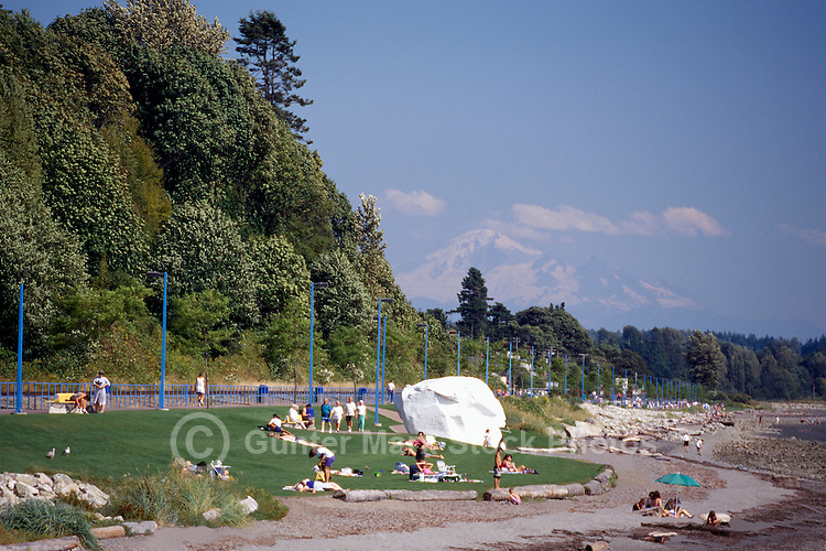 White Rock, BC, British Columbia, Canada - Seaside Promenade Walkway along Beach at Semiahmoo Bay - Mount Baker, Washington, USA beyond, Summer