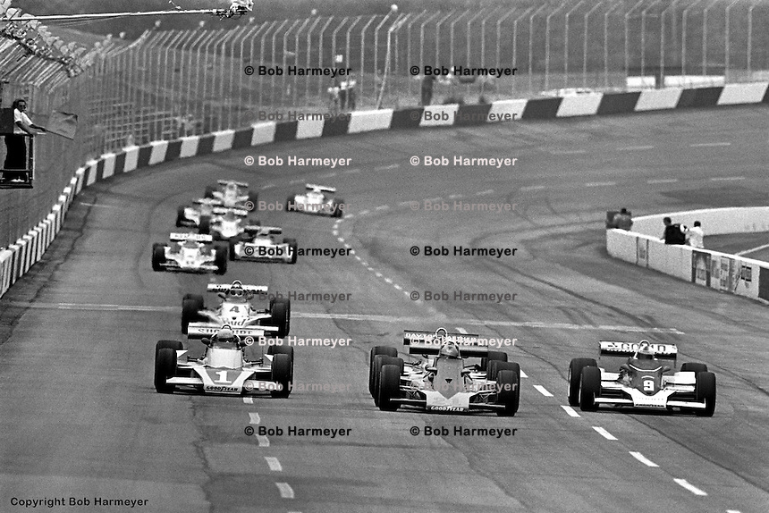 HAMPTON, GA - APRIL 22: Tom Sneva (#1 McLaren M24/Cosworth TC), Lee Kunzman (#21 Parnelli VPJ16C/Cosworth TC) and Rick Mears (#9 Penske Cosworth TC) drive during the Gould Twin Dixie 125 event on April 22, 1979, at Atlanta International Raceway near Hampton, Georgia.