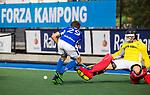 UTRECHT - Derck de Vilder (Kampong) stuit op Sam van der Ven (HGC)  tijdens de hoofdklasse  hockeywedstrijd heren, Kampong-HGC (3-3) . COPYRIGHT KOEN SUYK