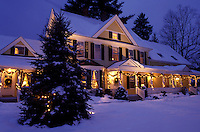 AJ1098, Vermont, Woodstock, B&B, inn, Christmas, The Jackson House Inn is illuminated with Christmas decorations on a snow covered [night, evening] in West Woodstock.