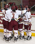Andie Anastos (BC - 23), Megan Keller (BC - 4), Serena Sommerfield (BC - 3), Kenzie Kent (BC - 12), Makenna Newkirk (BC - 19) - The number one seeded Boston College Eagles defeated the eight seeded Merrimack College Warriors 1-0 to sweep their Hockey East quarterfinal series on Friday, February 24, 2017, at Kelley Rink in Conte Forum in Chestnut Hill, Massachusetts.The number one seeded Boston College Eagles defeated the eight seeded Merrimack College Warriors 1-0 to sweep their Hockey East quarterfinal series on Friday, February 24, 2017, at Kelley Rink in Conte Forum in Chestnut Hill, Massachusetts.
