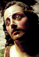 The sad, suffering face of Christ as seen in a statue in Quito, Ecuador. Quito, Ecuador.