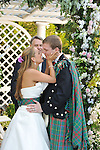 Botanical Gardens Wedding, NYC<br /> Greenwich, CT. bride and groom<br /> Scottish groom, kilts.<br /> Venezuelan - Argentine bride.