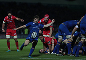 29th September 2017, RDS Arena, Dublin, Ireland; Guinness Pro14 Rugby, Leinster Rugby versus Edinburgh; Luke McGrath (Leinster) kicks clear from a ruck