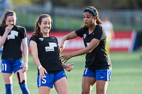 Boston, MA - Saturday April 29, 2017: Amanda DaCosta and Margaret Purce during warmups before a regular season National Women's Soccer League (NWSL) match between the Boston Breakers and Seattle Reign FC at Jordan Field.