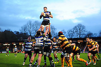 Max Northcote-Green of Bath United wins the ball at a lineout. Aviva A-League match, between Bath United and Wasps A on December 28, 2016 at the Recreation Ground in Bath, England. Photo by: Patrick Khachfe / Onside Images
