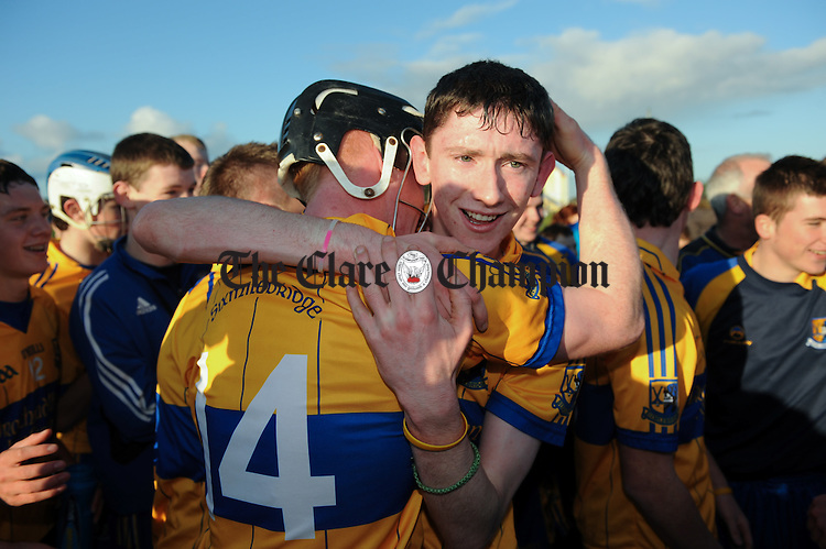 Sixmilebridge players Evan Mc Inerney and Alan Mulready celebrate following their win over Ballyea in their Minor a hurling final at Clarecastle. Photograph by John Kelly.