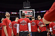 Washington, DC - MAR 11, 2018: Davidson Wildcats players look up at the jumbo-tron watching highlights of their victory over Rhode Island Rams for the Atlantic 10 men's basketball championship at the Capital One Arena in Washington, DC. (Photo by Phil Peters/Media Images International)