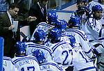 January 8, 2010:  Air Force head coach, Frank Serratore, gives instructions during a timeout during Atlantic Hockey Association action against the UConn Huskies at Cadet Ice Arena, U.S. Air Force Academy, Colorado Springs, Colorado.  Air Force defeats UConn 2-1.