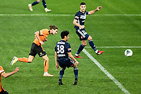 29th July 2020; Bankwest Stadium, Parramatta, New South Wales, Australia; A League Football, Melbourne Victory versus Brisbane Roar; Matthew Ridenton of Brisbane Roar stoops to head Brisbanes second goal for 0-2 in the 78th minute