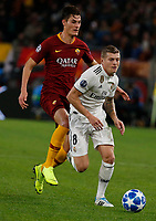 Toni Kroos of Real Madrid  and Patrik Schick of AS Roma  during the Champions League Group  soccer match between AS Roma - Real Madrid  at the Stadio Olimpico in Rome Italy 27 November 2018
