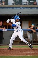 Bluefield Blue Jays left fielder D.J. Daniels (6) at bat during a game against the Bristol Pirates on July 26, 2018 at Bowen Field in Bluefield, Virginia.  Bristol defeated Bluefield 7-6.  (Mike Janes/Four Seam Images)