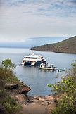 GALAPAGOS ISLANDS, ECUADOR, Tangus Cove, the M/C Ocean Spray moored in the bay off Tangus Cov