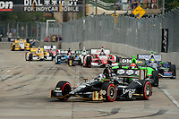Baltimore -September 2: Indy Cars turn into turn 3 on the opening lap of the Baltimore Grand Prix at the Baltimore Temporary Street Course on September 2, 2012 in Baltimore, Maryland (Ryan Lasek/Eclipse Sportswire)