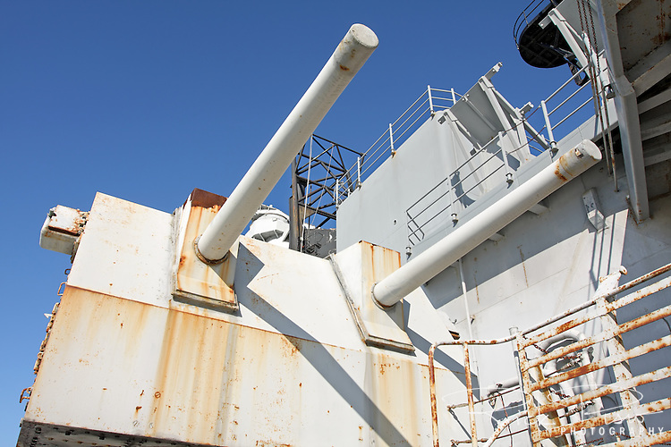 One of the USS Iowa's port side 5 inch gun batteries.