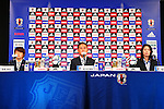 (L-R)<br /> Aya Miyama,<br />  Norio Sasaki, <br /> Akemi Noda (JPN), <br /> JULY 7, 2015 - Football / Soccer : <br /> Japanese women's national football team attends a press conference after arriving in Chiba, Japan. <br /> Japan lost the FIFA Women's World Cup Canada 2015 Final match against United States on July 5.<br /> (Photo by Shingo Ito/AFLO SPORT)