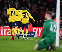 27th January 2020; Vitality Stadium, Bournemouth, Dorset, England; English FA Cup Football, Bournemouth Athletic versus Arsenal; Edward Nketiah of Arsenal celebrates with his team mates after scoring in 25th minute 0-2