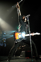 """American alternative rock band Green Day, fronted by singer Billie Joe Armstrong, plays during their """"21st Century Breakdown"""" tour, to a near-capacity crowd, Saturday, July 4th, 2009, at GM Place in Vancouver. (Scott Alexander/pressphotointl.com)"""