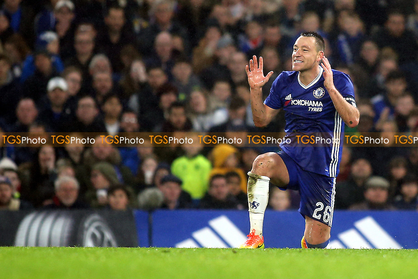 John Terry's reaction just prior to receiving a red card during Chelsea vs Peterborough United, Emirates FA Cup Football at Stamford Bridge on 8th January 2017
