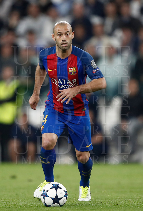 Football Soccer: UEFA Champions UEFA Champions League quarter final first leg Juventus-Barcellona, Juventus stadium, Turin, Italy, April 11, 2017. <br /> Barcellona's Javier Mascherano in action during the Uefa Champions League football match between Juventus and Barcelona at the Juventus stadium, on April 11 ,2017.<br /> UPDATE IMAGES PRESS/Isabella Bonotto